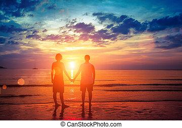 amanti, giovane coppia, standing, mano