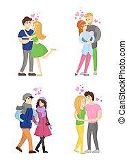 amanti, vettore, teneramente, abbracciare, passione, abbracciare