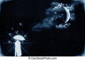 amanti, vicino, il, chiaro di luna