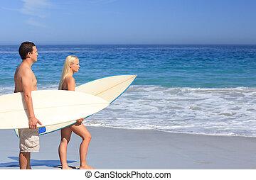 amants, à, leur, planches surf