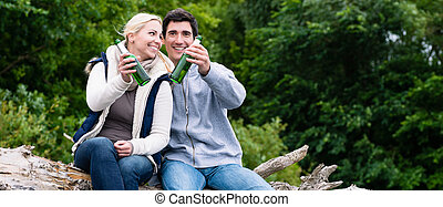 amants, bouteilles, waterside, séance, vacances, bière, tintement