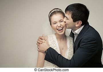amants, couple, palefrenier, doux, bride., fond, studio, ...