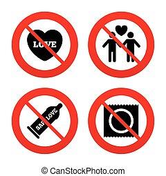 amants, couples gais, sûr, icons., sexe, préservatif, signe.