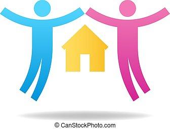 amants, famille, concept., couple, house., illustration, vecteur, paire, female., icon., mâle, ton, design.