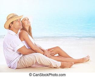 amants, plage, heureux