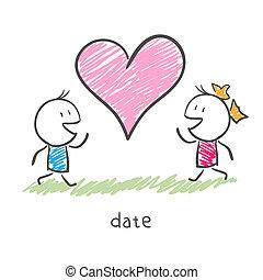 amants, réunion, deux