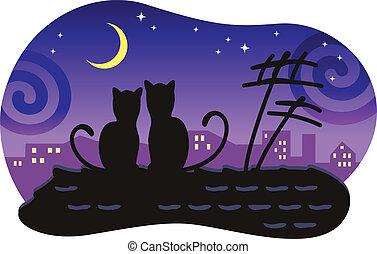 amants, regard, séance, maison, moon., toit, chats