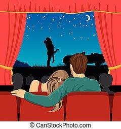 amants, théâtre, romantique, cinéma, film, couple, regarder