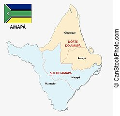 amapa administrative and political map with flag