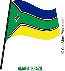 Amapa Flag Waving Vector Illustration on White Background. States Flag of Brazil