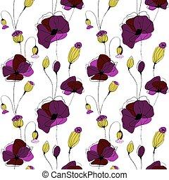 amapola, flor, campo