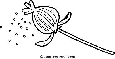 amapola, flor, caricatura, secado