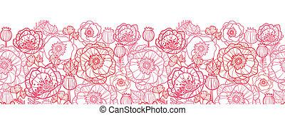 amapola, flores, arte de línea, horizontal, seamless,...