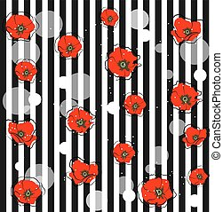 amapola, resumen, flores, rojo