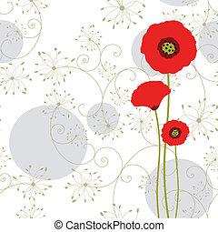 amapola, resumen, tarjeta de felicitación, rojo