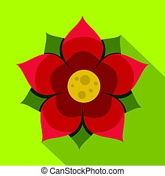 Amaranth flower icon, flat style - Amaranth flower icon....
