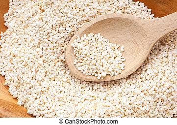 amaranth, het knallen, gluten-vrije, hoog, proteïne, boon, graan