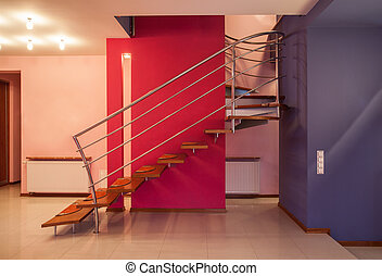 Amaranth house - Staircase in a colorful home interior