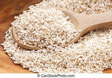 amaranto, estalar, glutina-liberta, alto, proteína, grão, cereal