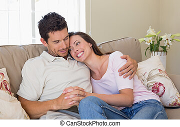 amare, casa, coppia, divano, seduta