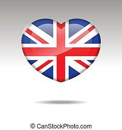 amare cuore, icon., bandiera, regno unito, simbolo.