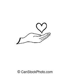amare cuore, in, tuo, mano., assistenza sanitaria, concept., scarabocchiare, linea, disegnato, cuore, icona