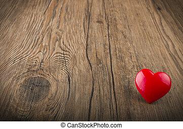 amare cuore, su, tessuto legno, fondo, giorno valentines, scheda, concetto