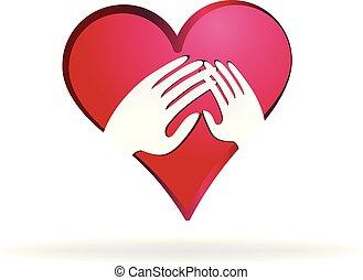 amare, cuore, vettore, mani