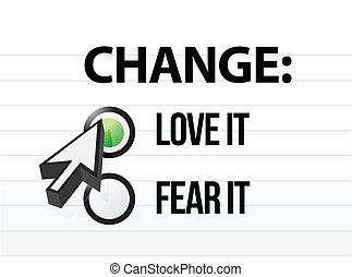 amare, fearing, cambiamento, o