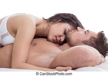Primo piano, amanti, letto, nudo, abbracciare, dire bugie,... foto ...
