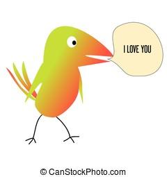 amare uccello, fondo, lei, colorito, bianco