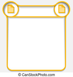 amarela, abstratos, caixa texto, com, dois, nota, ícones