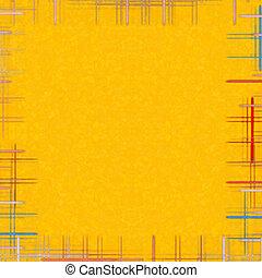 amarela, abstratos, fundo, com, checkered, frame.
