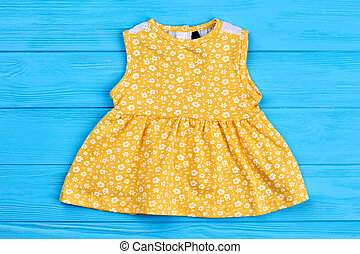 amarela, algodão, vestido, para, newborn.