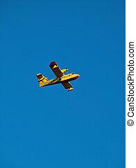 amarela, avião, ligado, céu azul