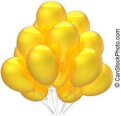 amarela, balões, decoração partido