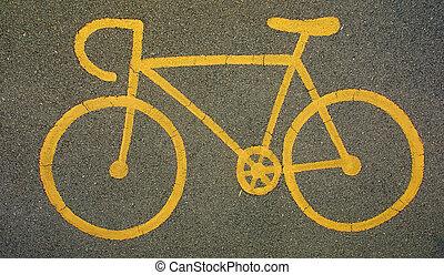 amarela, bicicleta, sinal