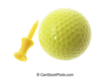 amarela, bola golfe baliza