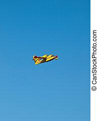 amarela, bombeiro, avião, ligado, céu azul