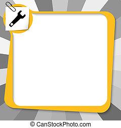 amarela, caixa texto, com, clipe para papel, e, spanner