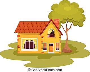 Casa amarela vermelho telhado colorido casa suburbano vetor fa a busca em clip art - Casa rural can salva ...
