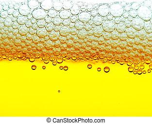 amarela, cerveja, com, espuma, e, bolhas