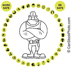 amarela, circular, saúde segurança