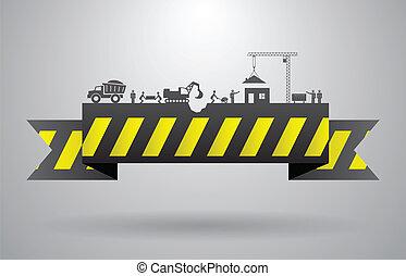 amarela, construção, bandeira, para, infographics, título
