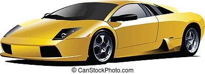 amarela, desporto, car, ligado, a, road., vec
