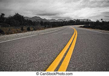 amarela, dividindo linha, de, rodovia