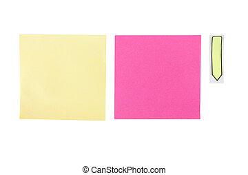 amarela, e, cor-de-rosa, poste, notas