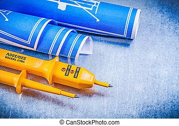 amarela, elétrico, testador, azul, engenharia, desenhos, ligado, metálico, b