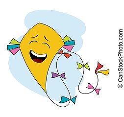 amarela, engraçado, pipa voadora, sobre, branca