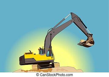amarela, escavador, ilustração